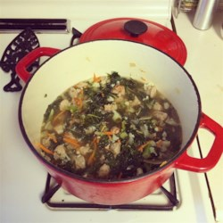 Sausage and Kale Soup Recipe - Chopped mushroom, cauliflower, carrot, onion, and kale simmer in chicken broth seasoned with the addition of pork sausage.