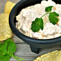 Texas Firehouse Dip Recipe - Texas firehouse dip is made with cream cheese, Ro*Tel(R) tomatoes, and hot sauce creating an addictive appetizer that goes well with margaritas and beer.