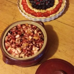 Cranberry Salad III Recipe - What 's nice about this version of cranberry salad, is the orange rind, you can taste it in every bite. And the raspberry flavored gelatin that all the ingredients are stirred into, adds another taste dimension. Serves eight.