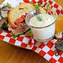 Roast Beef Horseradish Sauce Recipe - Use this recipe to easily make your own horseradish sauce for roast beef with prepared horseradish, mayonnaise, sour cream, dill, and lemon juice.