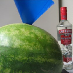 Adult Watermelon for BBQ's Recipe - Adults only!  This is watermelon and liquor...perfect for BBQ's, picnics, camping and by the pool!  Use any liquor you like, even wine works!  I use seedless watermelon, but you don't have to.