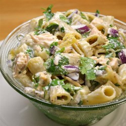 Classic Macaroni Salad with a Twist Recipe - Pineapple, chicken, and cilantro feature in this macaroni salad dressed in mayonnaise.