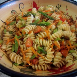 Whole Wheat Rotini Pasta Salad Recipe - This fabulous and light pasta salad with carrots, asparagus, tomatoes, and green onions can be made in advance or eaten immediately.