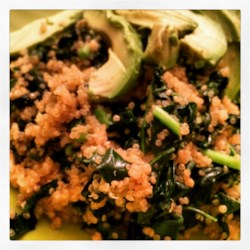 Garlic Kale Quinoa Recipe - Garlic and kale are sauteed with quinoa and sesame oil for a quick and easy side dish. Serve alongside any main dish.