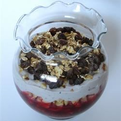 Fruity Tofu Parfait with Granola Recipe - Sweet pureed tofu, raspberry laden layers and granola crunch.