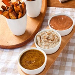 Sweet Potato Oven Fries & Three Dips Recipe - Enjoy these delicious fries with one or all three dips! There is a different type of dip for every taste bud!