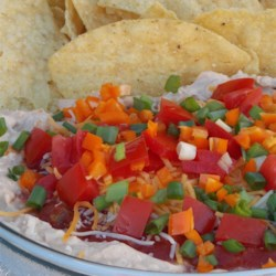 Mexican Cheese Cake  Recipe - This Mexican-inspired dip has a creamy layer on the bottom topped with salsa, Cheddar cheese, and green onions for a tasty appetizer with tortilla chips.