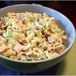 Turkey Red Grape Salad Recipe - A quick and easy noodle salad with delicious sweet red grapes, turkey, and a special kick of celery.