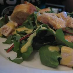 Honey Mustard Dressing with baby greens and grilled chicken breast
