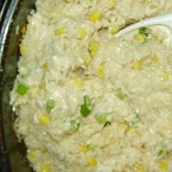 Rice Casserole Recipe - A cheesy rice with corn and green onions. Pretty enough for company and tastes great!