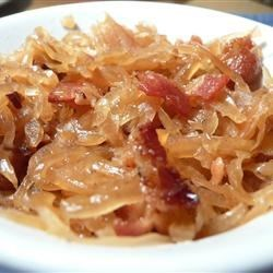 Chris' Kraut Recipe - Sauerkraut is simmered in bacon drippings with crumbled bacon and sugar.