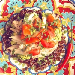 Cold Chicken Quinoa Avocado Salad Recipe - Chicken and quinoa salad with an avocado and cilantro dressing is a refreshing and hearty salad for lunch or dinner.