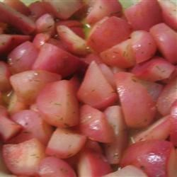 Steamed Radishes Recipe - Radishes become tender and sweet when steamed.  Toss with melted butter and serve immediately.