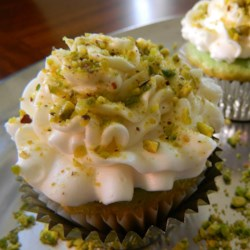 Real Pistachio Cupcakes Recipe - These delicate cupcakes get their flavor and pale green color from ground roasted pistachios.