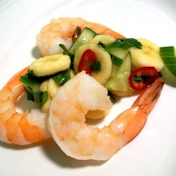 Thai Banana Salsa with King Prawns Recipe - Prawns are served with a delicious salsa made with bananas, cucumbers, and an exotic blend of flavorings.