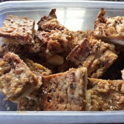Toffee Cashew Bars Recipe - A sweet, nutty, chewy buttery delight. I've had guests tell me that it's pure gold. This is a variation on a blue ribbon winning recipe. Also great with semisweet chocolate chips sprinkled on top, for chocolate lovers.
