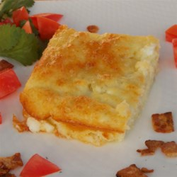 Fast-and-Fabulous Egg and Cottage Cheese Casserole Recipe - Green chile peppers lend a flavor boost to this version of an egg breakfast casserole, also featuring cottage and Monterey Jack cheeses.