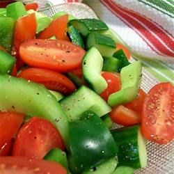 Tomato and Pepper Salad Recipe - I make this salad using fresh tomatoes from my garden. The key is to let it marinate and chill for the flavors to blend.