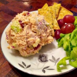 Ang's Chicken Salad Recipe - Shredded chicken is mixed with grapes and celery in a mayonnaise-based dressing for a quick and easy chicken salad recipe.