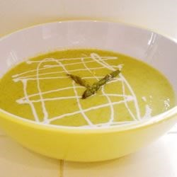 Fresh Asparagus Soup Recipe - A creamy asparagus soup accented with yogurt, lemon, and Parmesan cheese. Everyone loves it! You can substitute soy products to make this recipe vegan.
