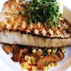Grilled Halibut Steaks with Corn and Chanterelles  Recipe - Chef John gives a twist to surf-and-turf with his recipe for grilled halibut steaks with sweet corn and chanterelle mushrooms.
