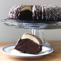Ribboned Fudge Cake Recipe - An easy, delicious, moist Bundt cake with a cream cheese ribbon inside.  Makes a nice presentation for company.