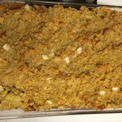 Grandma's Stuffing Recipe - This is a stuffing that my grandmother used to make every time we had turkey. It's the best in the world. She used to put some in the turkey and some cold in the fridge raw. It tastes good this way as well.