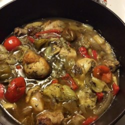 Braised Chicken and Artichoke Hearts with Lemon, Cherry Peppers and Thyme Recipe and Video - This delicious and easy chicken recipe is a great example of how a few simple ingredients can be combined to create an incredibly complex and flavorful dish.