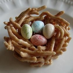 Jelly Bean Nests Recipe and Video - Crunchy Chinese noodles and melted marshmallows make the cutest little nests for your jelly beans. Great as place markers at Easter dinner.