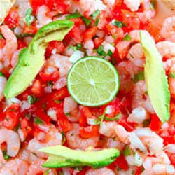 """Clamato(R) Shrimp """"Ceviche"""" Style Recipe - Cool and tasty, this citrus marinade is an ideal recipe for warm summer days."""