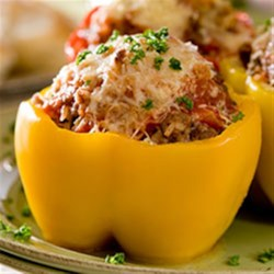 Clamato(R) Seafood Stuffed Peppers Recipe - Liven your week with this tasty seacoast recipe of peppers stuffed with tilapia, scallops and shrimp.