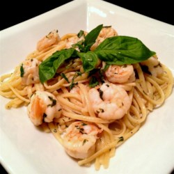 Shrimp Lemon Pepper Linguini Recipe - Linguine is tossed with a lemony wine and shrimp mixture!
