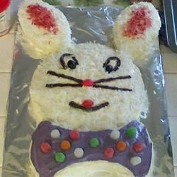 Easy Bunny Cake Recipe - A simple version of a coconut white cake shaped like a bunny head!