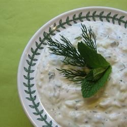 Tzatziki Sauce (Yogurt and Cucumber Dip) Recipe - Drain some low-fat yogurt overnight to make this yummy cucumber dressing. This is a delicious topping for grilled chicken or meat. It's also a great dip for veggies and pita chips.