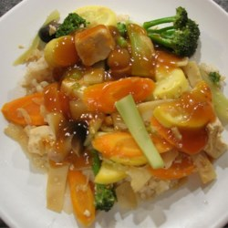 Vegetable and Tofu Stir-fry Recipe - The sweet and savory sauce makes this healthy stir fry extra delicious. A family favorite.