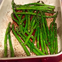 Roasted Asparagus with Balsamic Vinegar Recipe - A quick and robust way to enjoy asparagus. Roasting highlights the natural sweetness of the asparagus while the balsamic vinegar offers a tangy compliment to this great side dish.