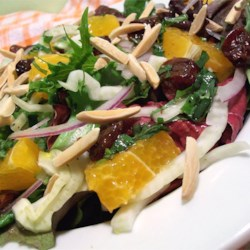 Spring Salad with Fennel and Orange Recipe - The gorgeous colors of this green, bright orange, purple white and red salad make this so enticing! The combination of the sweet citrus taste with the tangy salad dressing is always a big hit with guests!