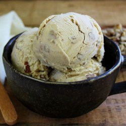 Black Walnut Ice Cream Recipe - My dad and I loved black walnut anything.  Black walnuts taste very different than English walnuts so I created this one on his behalf.  I like it best topped with caramel sauce or honey.
