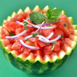 Watermelon Surprize Recipe - This summery watermelon mint salad is dressed simply with apple cider vinegar and black pepper.