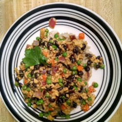 Spicy Asian Medley Recipe - This is a yummy yet simple combo of black beans, veggies, and tofu.
