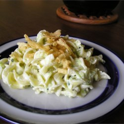 Zucchini Alfredo Recipe - Shredded zucchini in a creamy sauce, served over noodles.