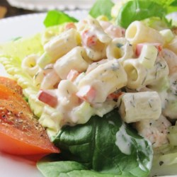 Herbed Macaroni Salad with Shrimp Recipe - Herbed macaroni salad with shrimp is flecked with parsley and gets a slight tang from lemon juice creating a new version of traditional macaroni salad.