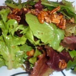 Mixed Greens with Walnut and Roasted Onion Dressing Recipe - What an amazing dressing. You might be tempted to use it as a sauce for your next roast chicken dinner, but first try it on top of this simple salad of mixed greens, walnuts and red onion.