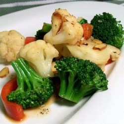 Browned Butter Vegetables with Almonds Recipe - Fresh vegetables (choose about 1 1/2 pounds of your favorites) are sauteed in a nutty butter sauce.
