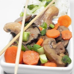 Triple Mushroom and Carrot Medley Recipe - Stir frying is the perfect way to cook mushrooms, just long enough to release their mushroom goodness. And there are three kinds in this dish  - straw, white and shiitake. Carrots too. But the sauce of soy sauce, sherry, honey and broth really brings it a