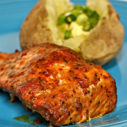 Barbeque Roasted Salmon Recipe - Roasted salmon topped with homemade barbeque sauce is a quick and easy meal that the whole family will love.