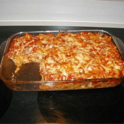 Ziti with Italian Sausage Recipe - Ziti and Italian sausage baked with mushrooms, onion, celery, mozzarella and a simple tomato sauce.