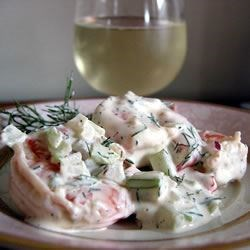 Dill and Shrimp Salad Recipe - This creamy shrimp salad with dill is great served inside fresh pita bread.