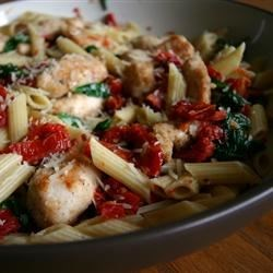 Spinach and Sun-Dried Tomato Pasta Recipe - I created this simple Sicilian-style pasta dish one day when trying to use up some sun-dried tomatoes.