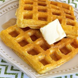 Cornmeal Waffles with Chia Seeds Recipe - Cornmeal and chia seeds add a little extra crunch in these crowd-pleasing, light waffles. Serve with your favorite toppings.
